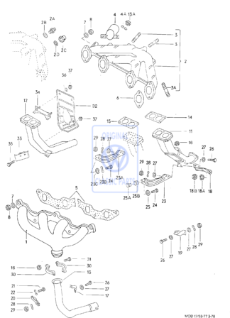 Joint de tuyau d'?chappement Golf Mk1 Scirocco Mk1 Mk2